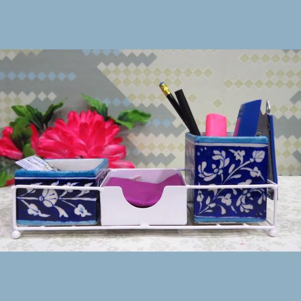Aurea Blue Pottery Desk Organizer