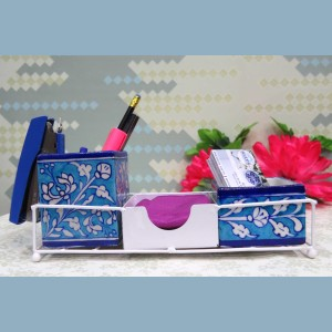 Aurea Blue Pottery Desk Organizer