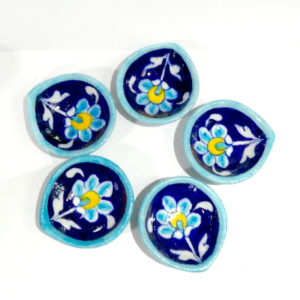 Aurea Blue pottery Diya set