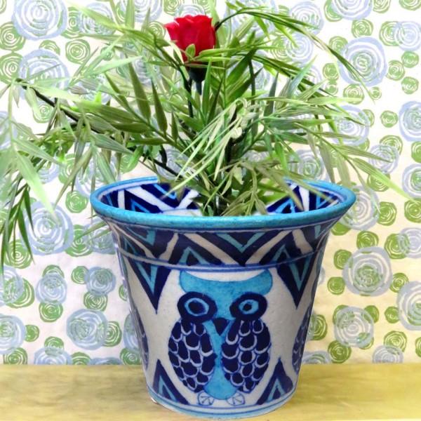 Aurea Blue Pottery Owl Planter