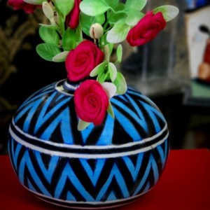 Aurea Blue Pottery Contemporary Vase