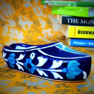 Aurea Blue Pottery Shoe Ash-tray