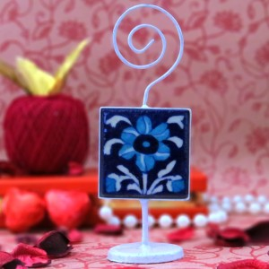 Aurea Blue Pottery Card / Photo Holder
