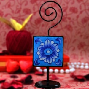 Aurea Blue Pottery Card/Photo Holder