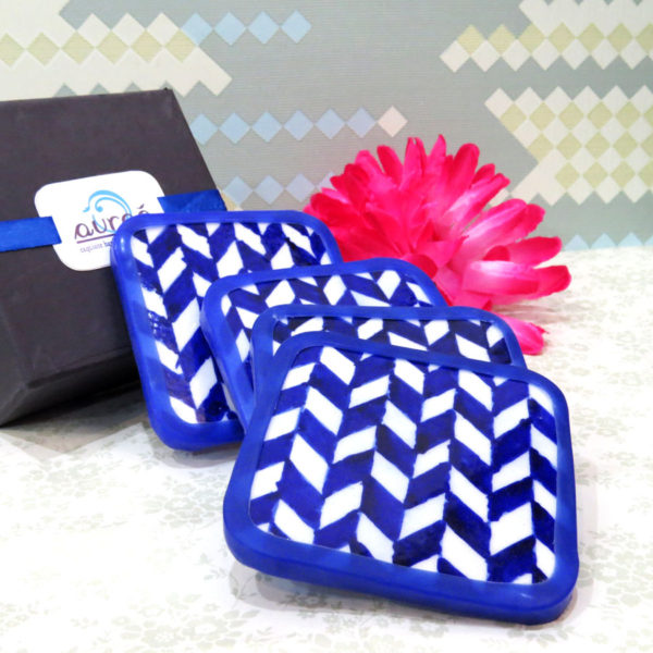 Aurea Blue Pottery Coaster Set