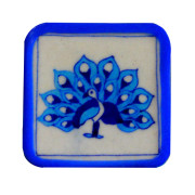 Aurea blue pottery peacock coasters