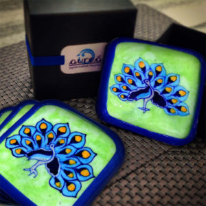 Aurea Blue Pottery Peacock Coaster