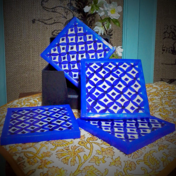 Aurea Blue Pottery coaster set