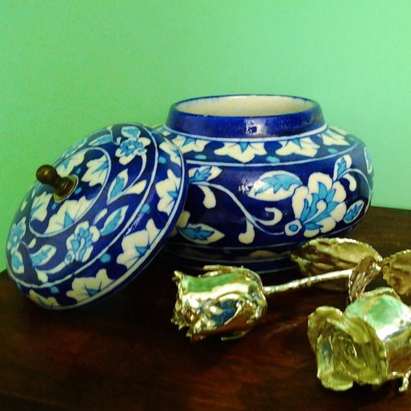 Aurea Blue Pottery Decorative Rose Bowl-Small