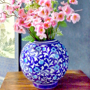Aurea Blue Pottery Medium Vase