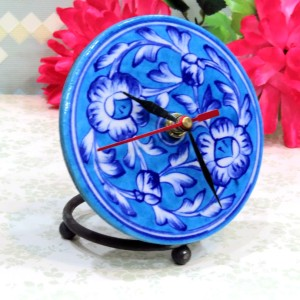 Aurea Blue Pottery Table Clock