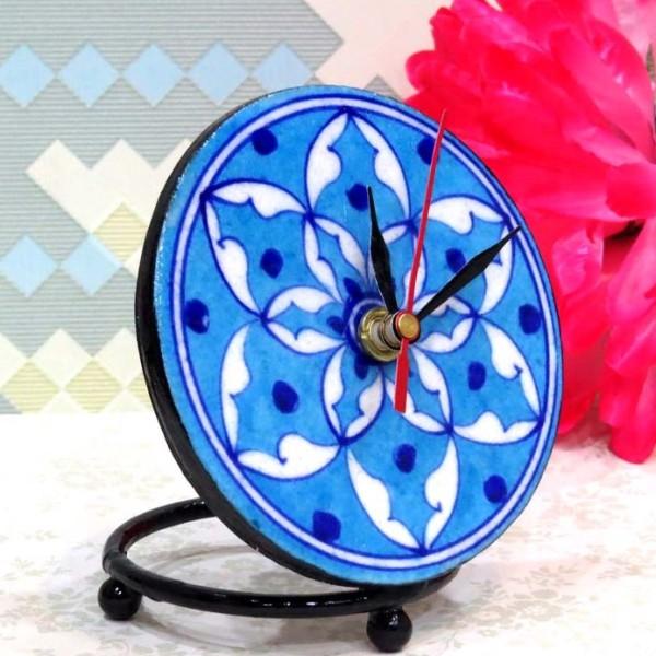Aurea Blue Pottery Table Clock