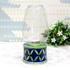 Aurea Blue Pottery Tealight Lamp