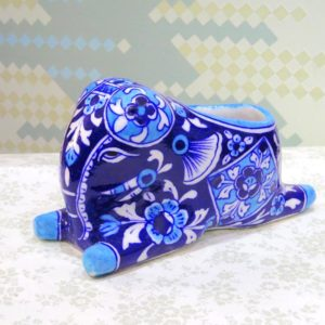Aurea Blue Pottery Elephant Holder
