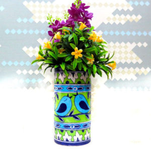 Aurea Blue Pottery Flower Vase