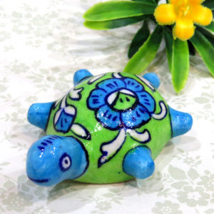 Aurea Blue Pottery Turtle Paperweight
