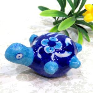 Aurea Blue Pottery Turtle Paperweight