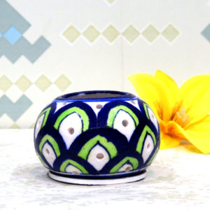 Aurea Blue Pottery Tea Light Holder