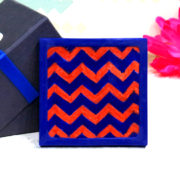Aurea Blue Pottery Red Chevron Coaster
