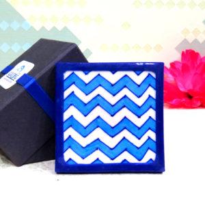 Aurea Blue Pottery Turquoise Chevron Coaster