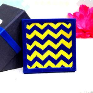 Aurea Blue Pottery Yellow Blue Chevron Coaster
