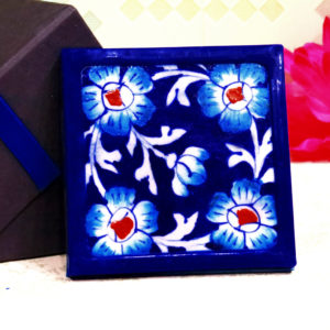 Aurea Blue Pottery Blue Red Floral Coaster