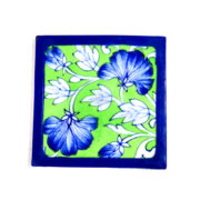 Aurea Blue Pottery Green Floral Coaster