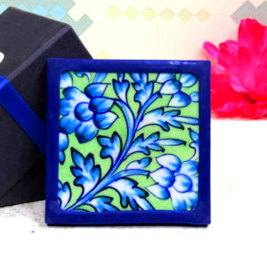 Aurea Blue Pottery Green Blue Floral Coaster