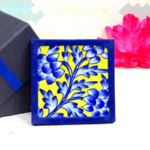Aurea Blue Pottery Yellow Blue Floral Coaster