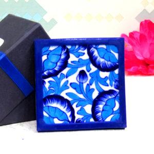 Aurea Blue Pottery Blue Floral Coaster