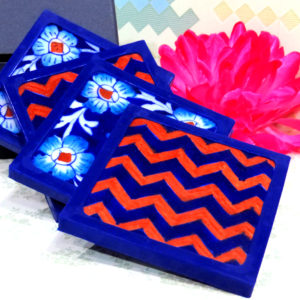Aurea Blue Pottery Blue Red Floral Coaster Set