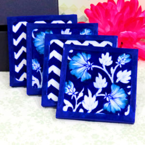 Aurea Blue Pottery Blue Floral Coaster Set