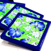 Aurea Blue Pottery Green Floral Coaster Set