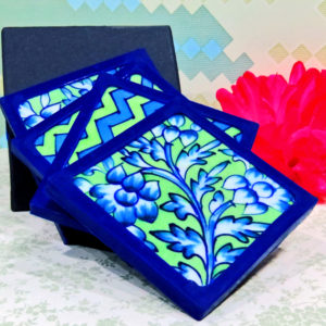 Aurea Blue Pottery Green Blue Floral Coaster Set