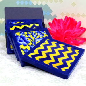 Aurea Blue Pottery Yellow Blue Floral Coaster Set