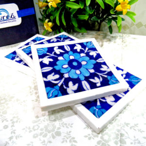 Aurea Blue Pottery Floral Coaster Set