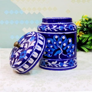 Aurea Blue Pottery Decorative Jar Small