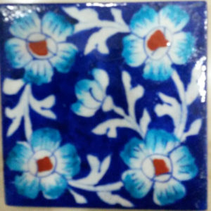 Aurea Blue Pottery Tile 4 x 4 inches