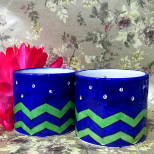 Aurea Blue Pottery T light Holder Set