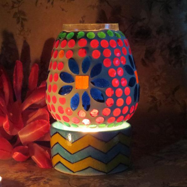 Aurea Blue Pottery T light Lamp