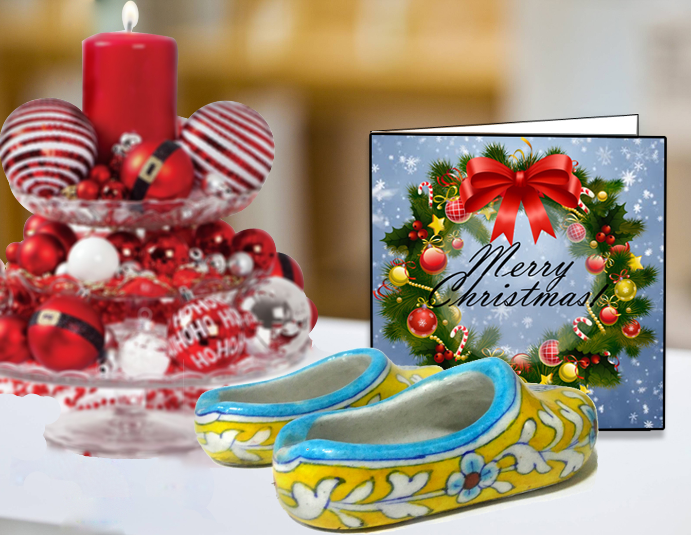 CHRISTMAS COMBO DESK SUPPLIES HOLDERS AND GREETING CARD