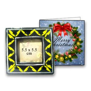Aurea Blue pottery Christmas gift photo frame