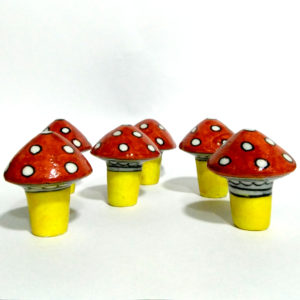 Aurean Blue Pottery Garden Decor Mushrooms