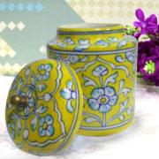Aurea Blue Pottery Decorative Jar Yellow Floral