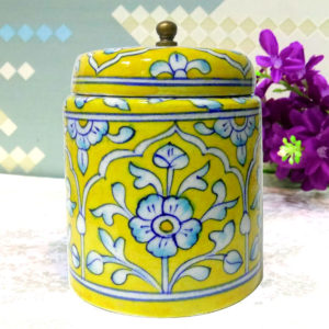 Aurea Blue Pottery Decorative Jar Yellow Floral