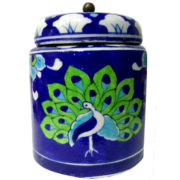 Aurea Blue Pottery Decorative Jar Green Peacock
