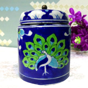 Aurea Blue Pottery Decorative Jar Green Peacock